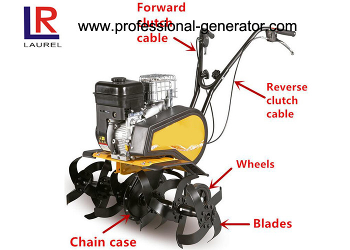 196cc 6.5HP Gasoline Small Garden Tiller With 1 Forward 1 Reverse For Farm Cultivator
