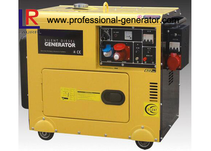 Single Cylinder Soundproof 6kVA Diesel Powered Generator With 3 Phase Direct Injection